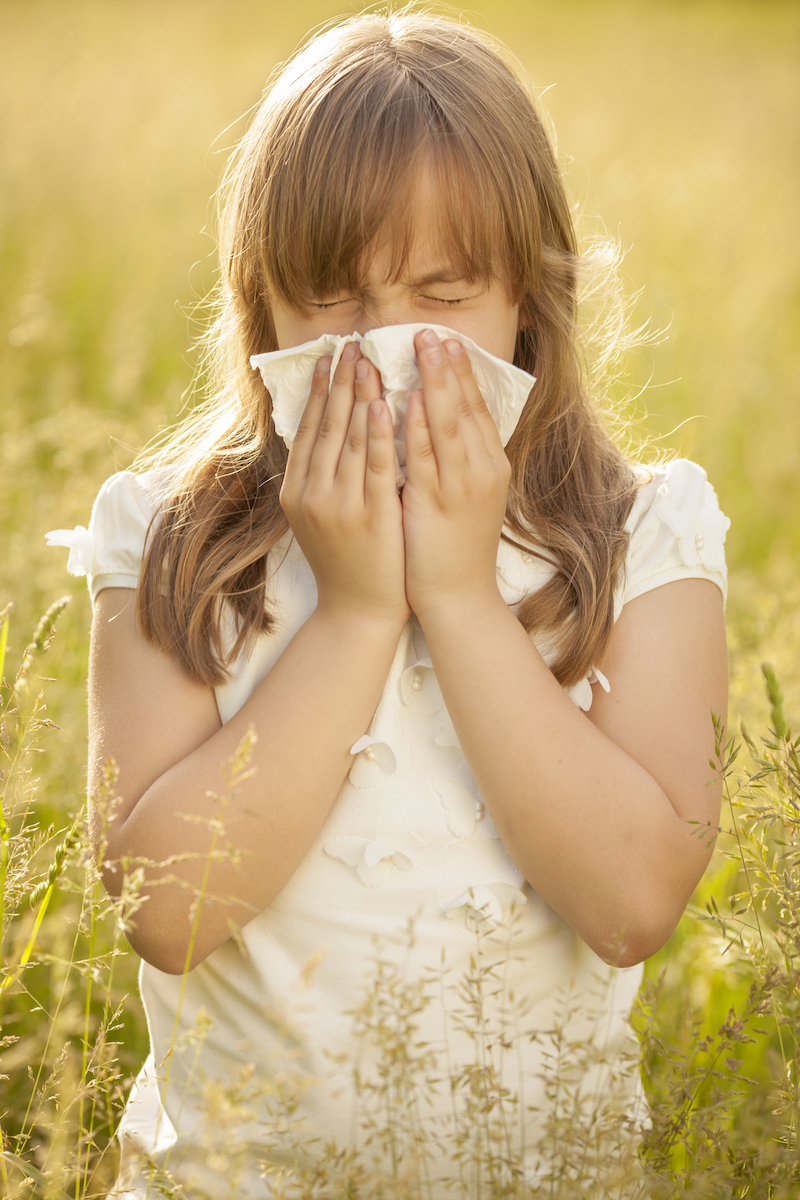 """Little girl sneezing due to allergy related problems, on a sunny day outdoors"""